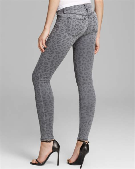 gray patterned jeans lyst j brand jeans leopard printed skinny in onyx in gray