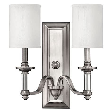 Wall Lighting Sconce by Sconce Wall Light With Beige Shades In Brushed