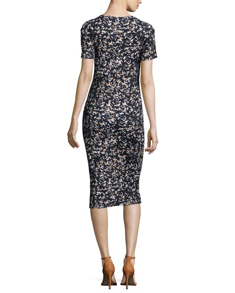 Sleeve Midi Sheath Dress mcq sleeve printed midi sheath dress in gray lyst