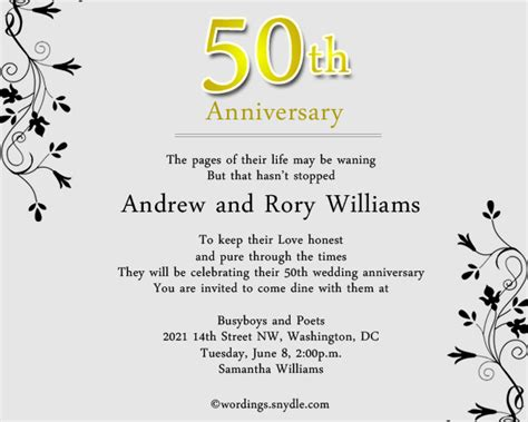 50th Wedding Anniversary Party Invitation Wording Wordings And Messages Wedding Anniversary Invitation Templates