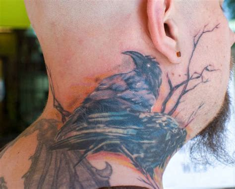 raven tattoo behind ear 29 astounding side neck tattoos behind the ear