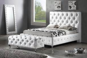 Crystal Tufted Bed Baxton Studio Bbt6220 Stella Crystal Tufted White Modern