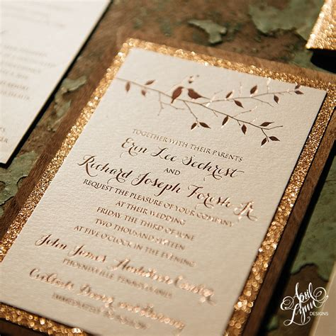 and gold wedding invitations erin rich s rustic glam gold foil and glitter