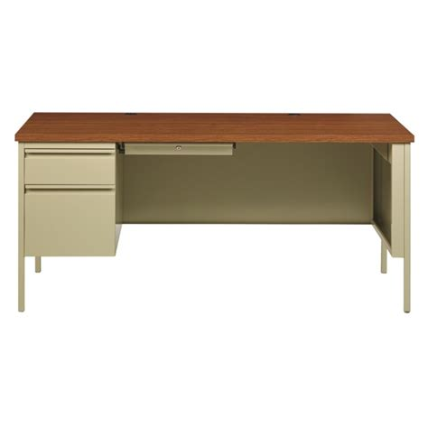 Pedestal Computer Desk Single Pedestal Computer Desk In Putty And Oak 20097
