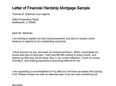 Financial Hardship Letter To Mortgage Lender Letter Of Financial Hardship