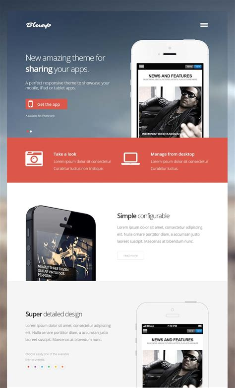 themes mobile free wordpress bluap responsive app wordpress themes for mobile ipad
