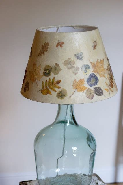 Decoupage Lshade - a handmade cottage pressed leaves and flower lshade