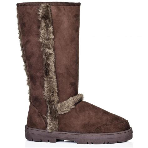 buy cadberry flat winter fur snow calf boots brown suede