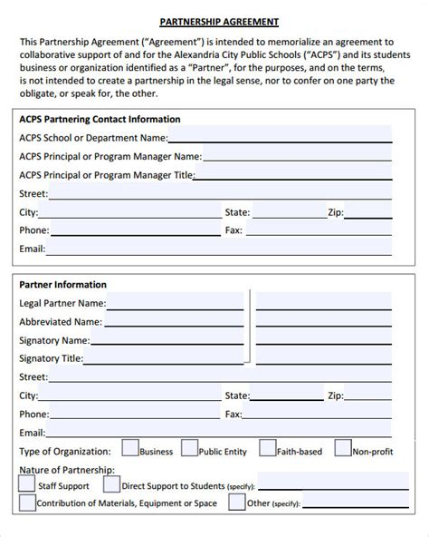 Partnership Agreement 9 Free Pdf Doc Download Partnership Agreement Template Pdf