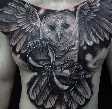 owl chest piece tattoo designs 70 owl chest designs for nocturnal ink ideas