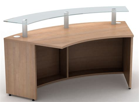Curved Reception Desk 1800mm Radius Curved Reception Desk With Glass Shelf Reality