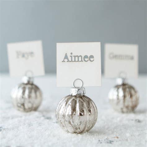 christmas baubles name holders silver bauble place name holders and cards by postbox notonthehighstreet