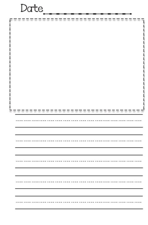 printable journal paper with picture space kindergarten worksheets writing paper free printable