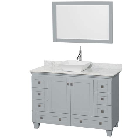 accmilan 48 inch vessel sink bathroom vanity in grey