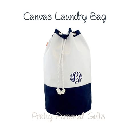 Canvas Laundry Bag Monogrammed Navy Laundry Duffel Tote Monogrammed Laundry