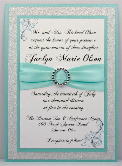 Handmade Sweet 16 Invitations - aqua quinceanera sweet 16 invitation of bling