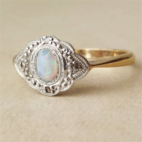 deco opal ring deco fiery opal and 9k gold engagement ring