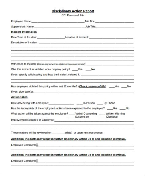 disciplinary form template word sle disciplinary form 8 exles in pdf word
