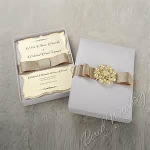 box wedding invitations couture wedding invitation box with pearl brooch