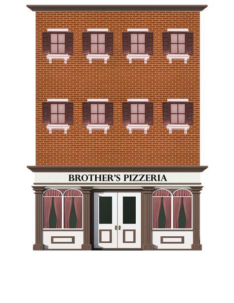 brother s pizzeria restaurant paper building kit scenery