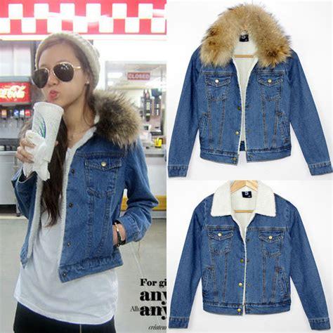 S Fashion Turn Collar Regular Denim Jackets Ou 5 fashion winter denim coat cotton denim sherpa removable