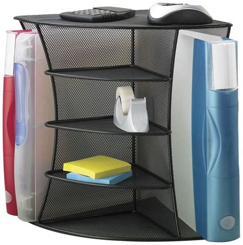 mesh desk organizer corner storage holder tablet office