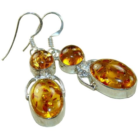 Alissa Sterling Silver Amber Earrings   Earrings with Amber Gemstone   South of Exotic