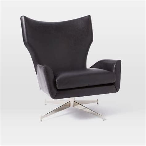 black swivel armchair hemming leather swivel armchair black west elm