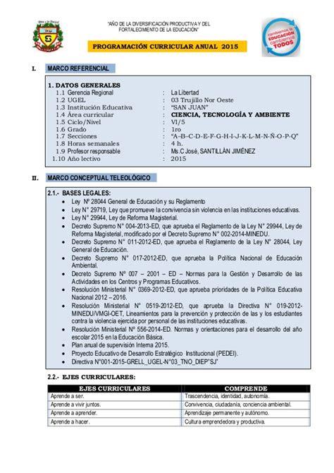 plan anual de cta 2 perueduca programacion curricular anual de cta 2015