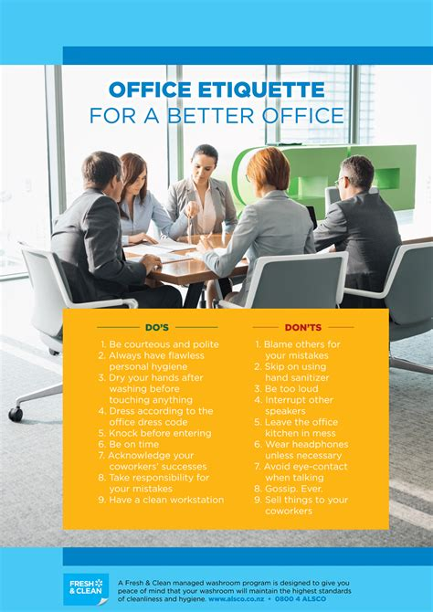 Office Etiquette Workplace Hygiene Etiquette Posters Free Alsco