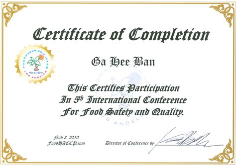 international conference certificate templates foodhaccp international conference for food safety and