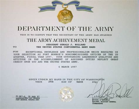 army achievement medal certificate army aam award citation