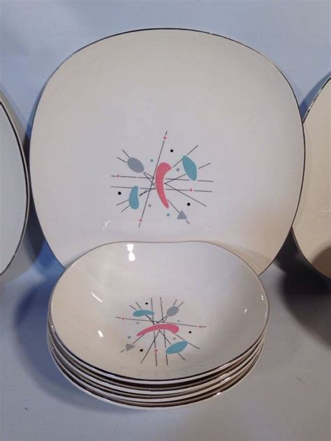 knowles   mobile plates bowls plate bowl  mid century modern atomic dinner salad
