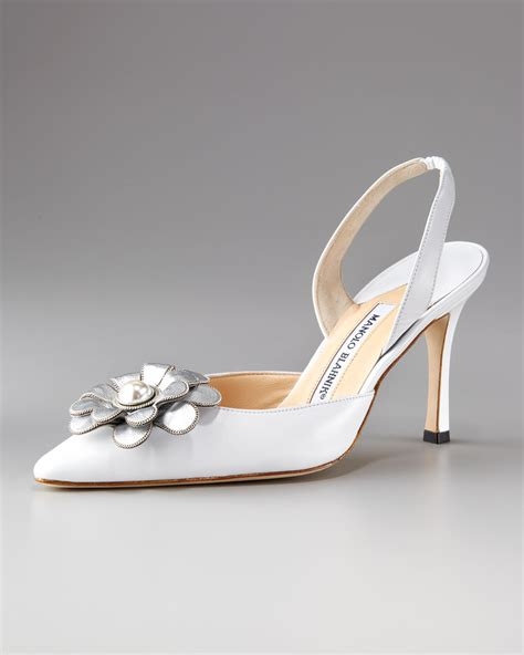 manolo blahnik high heels manolo blahnik carolyne applique high heel in white