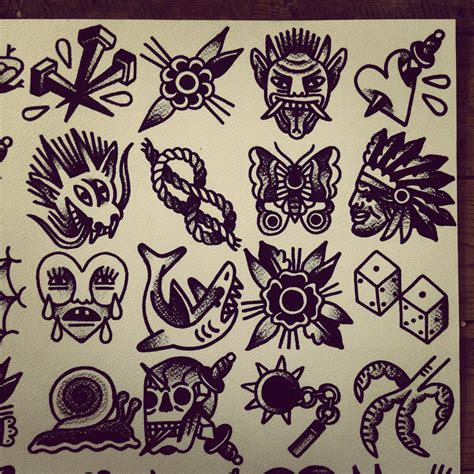 small traditional tattoo flash by mr levi netto all designs are 7 x 7 cm