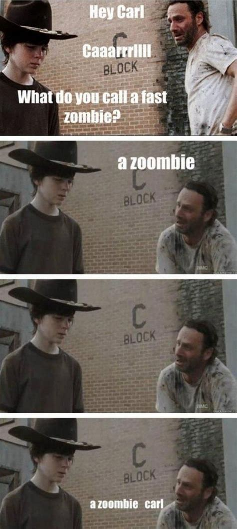The Walking Dead Carl Meme - the walking dead s rick grimes knows how to tell dad jokes