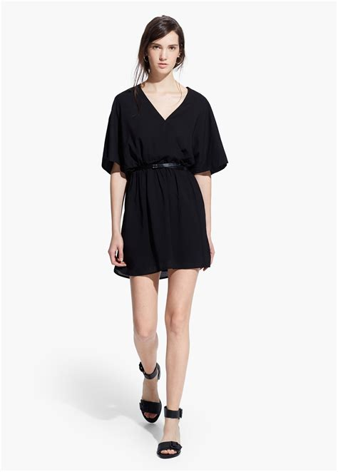 mango belted wrap dress in black lyst