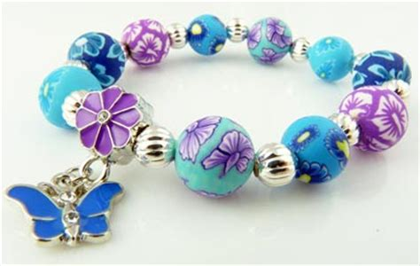 snazzy 10mm polymer clay butterfly charm bracelet