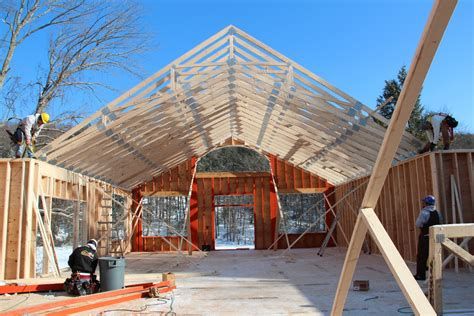 cathedral ceiling trusses elks hybrid design construction the barn yard great