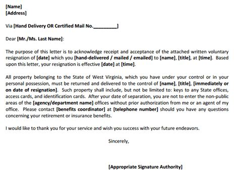 resignation acknowledgement letters find word letters