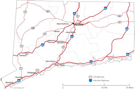printable connecticut road map map of connecticut