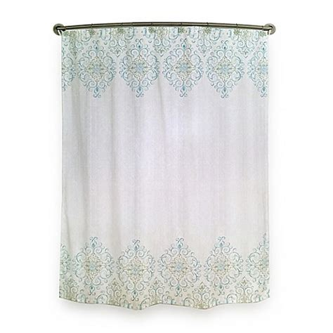 Lenox Shower Curtains Lenox 174 Perle Groove Shower Curtain In Blue Bed Bath Beyond
