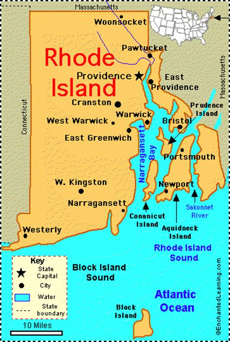 rhode island city map rhode island facts map and state symbols