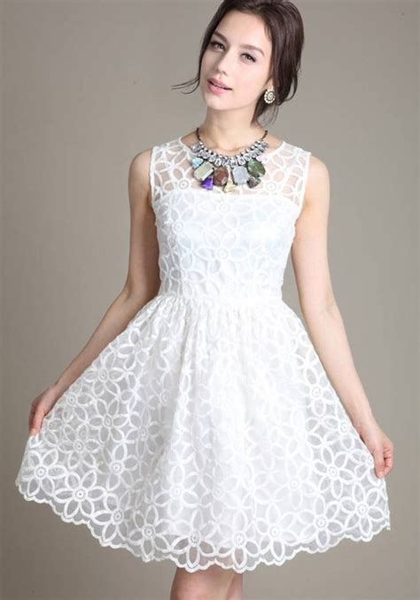 White Flower Dress Size M L 18677 white floral false 2 in 1 neck lace dress mini