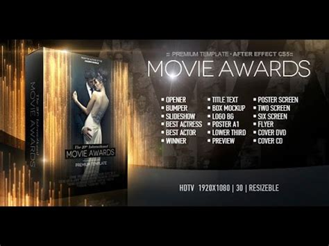 Movie Awards Bundle After Effects Project Videohive Template Youtube After Effects Awards Template