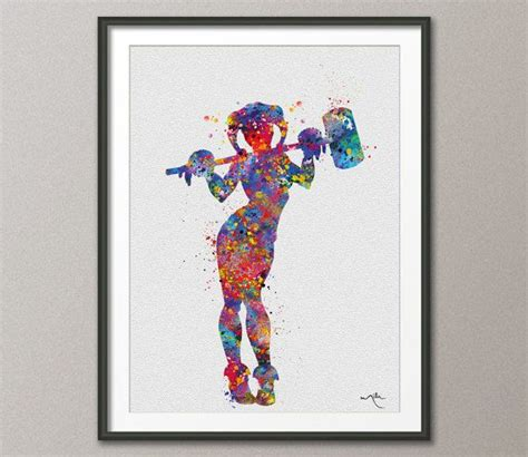 watercolor harley quinn tattoo harley quinn watercolor print batman print by