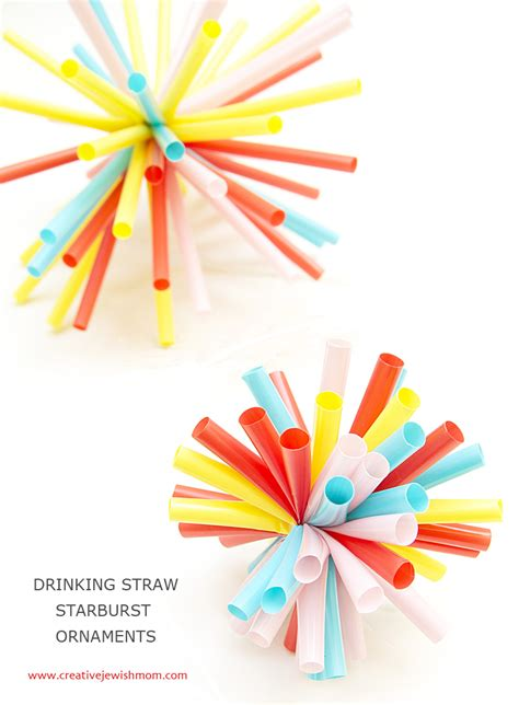 Paper Craft Straws - straw starburst ornaments for so