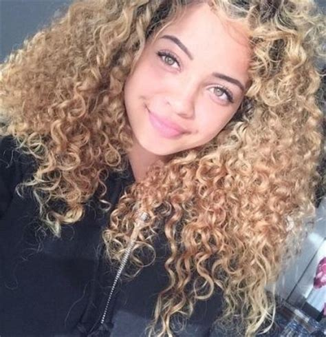 Curly Hair With Honey Blonde Highlights