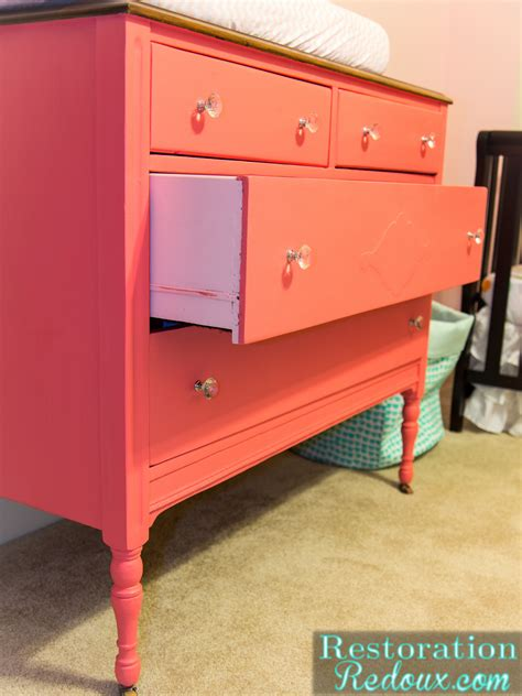 Broken Down Dresser Turned Pretty Pink Changing Table Pink Changing Table