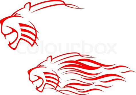 red tiger sign isolated on white as symbol of danger